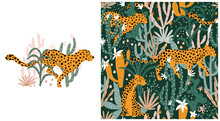 Leopard In Tropical Jungle Seamless Pattern. Vector Illustrations Of Animal, Plants, Cacti, Succulents In A Simple Cartoon Hand-drawn Style. Pastel Earthy Palette.
