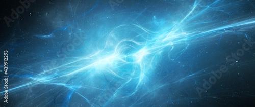 Fotografia Blue glowing birth of ethereal massive black hole