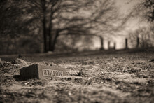"""Selective Focus Of A Grave With """"MOTHER"""" Written On The Gravestone In Dim Colors"""