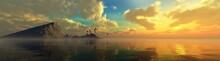 Beautiful Sea Sunset With An Island On The Horizon, Ocean Sunrise, Seascape Panorama, 3D Rendering