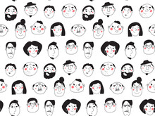 Seamless Black And White Background With People Faces. Line Art, Hand-drawn Graphics. Different Men And Women, Girls And Boys. Vector Illustration, Pattern In Cartoon Style