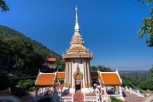 Wat Pra Putthabat Phu Kwai Ngoen Temple, Travel Attraction At Chiang Khan District, Loei, Thailand, Rabbit Temple, Silver Buffalo Footprint Temple On Hill