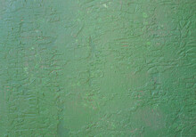 Wall With Old Peeling Green Paint.