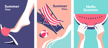 Summer Party, Vacation And Travel Concept. Vector Illustration In Minimalistic Style.