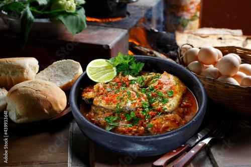 Obraz na plátně Moqueca fish and shrimp, traditional dish of Brazilian cuisine