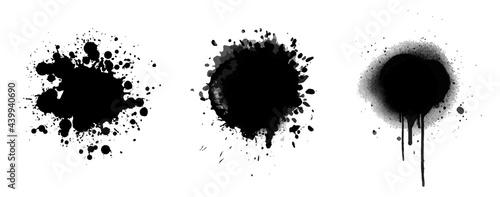 Obraz na plátně brush ink splash vector collection
