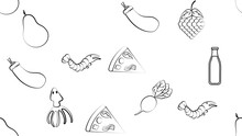 Black And White Endless Seamless Pattern Of Food And Snack Item Icons Set For Restaurant Bar Cafe: Shrimp, Pizza, Grapes, Radish, Soda, Squid, Pear. The Background