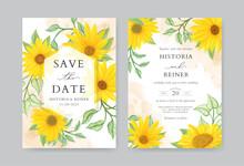 Rustic Sunflower Wedding Invitation Card Template