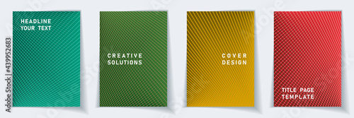 Fotografie, Obraz Crossed lines halftone cover page templates batch