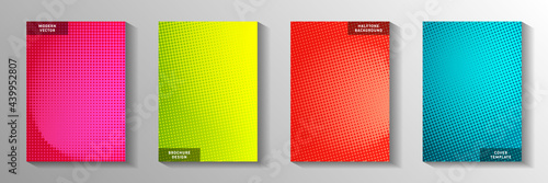 Fotografie, Obraz Trendy circle perforated halftone title page templates vector set