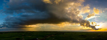 Panorama Top View Aerial Photo From Flying Drone Over Village In Thailand.Top View Beautiful Sunset.Sunrise With Cloud Rainy Storm.