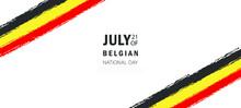 Belgium National Day Vector Illustration, Brush Flag.