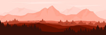 Landscape Mountain Scenery Vector Illustration For Pattern Background, Wallpaper, Background Template, And Backdrop Design