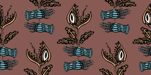 Magic Hands Holding A Hungry Carnivorous Flower Predator Plant Venus Flytrap Seamless Pattern Background.