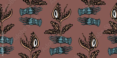 Stampa su Tela Magic hands holding a hungry carnivorous flower predator plant venus flytrap seamless pattern background