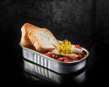 Roasted Red Bell Peppers With Fresh Bread And Yellow Roe With Fish Meat In Tin Can