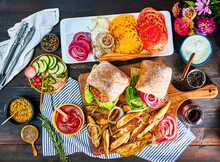 Burgers And French Fries For Farm To Table Dinner