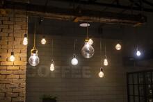 Bulbs Hanging On Coffee Shop Ceiling