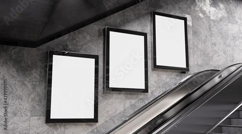 Fotografie, Obraz Three vertical billboards on underground wall Mockup