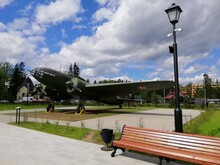 Vsevolozhsk,Leningrad Region,Russia-May 25,2021.Park Of 75th Anniversary Of Victory.Exhibit Of Military Aircraft Of Second World War.IL-4 Twin-engine Long-range Bomber