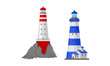 Lighthouse Tower Serving as Navigational Aid on Sea Vector Set