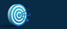 Blue Darts Arrows In The Center Of The Shooting Target. Business Targeting And Winning Concept On Dark Blue Background 3D Rendering, 3D Illustration