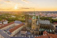 Prague Old Town With St. Vitus Cathedral And Prague Castle Complex With Buildings Revealing Architecture From Roman Style To Gothic 20th Century. Prague, Capital City Of The Czech Republic
