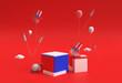 Leinwandbild Motiv 3D Render Scene of Minimal Podium Scene for Display Products Advertising Design. 4th of July USA Independence Day Concept.