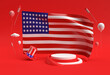 Leinwandbild Motiv 3D Render Usa flag 4th of July USA Independence Day Concept.