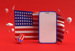 Leinwandbild Motiv 3D Render Happy 4th of July USA Independence Day and Smartphone Mockup American Flag.