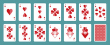 Deck Of Poker Playing Cards. Hearts. Stylized Illustration On White Background.