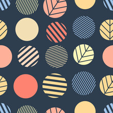 Colorful Round Shapes With Simple Striped Elements On A Dark Blue-gray Background. Seamless Abstract Geometry Pattern. Suitable For Wallpaper, Packaging, Textile.