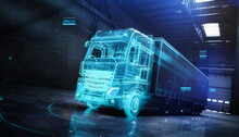 Futuristic Truck With Trailer Scene With  Wireframe Intersection (3D Illustration)