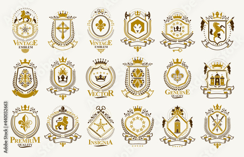 Canvas Classic style emblems big set, ancient heraldic symbols awards and labels collection, classical heraldry design elements, family or business emblems
