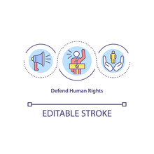 Defend Human Rights Concept Icon. Protect Social Life Of Different Races. Racial Equality Abstract Idea Thin Line Illustration. Vector Isolated Outline Color Drawing. Editable Stroke