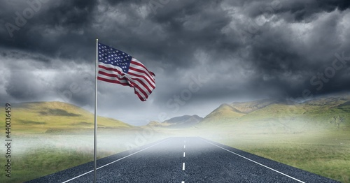 Composition of waving american flag against stormy sky and countryside road