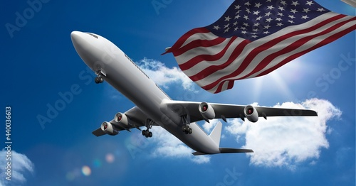 Composition of airplane flying against american flag and sky