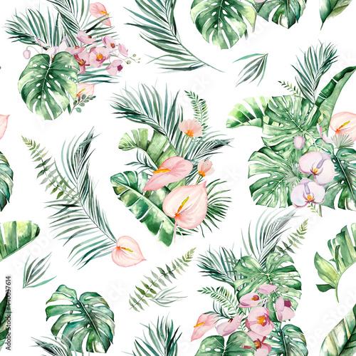 Tapety Tropikalne  akwarela-tropikalny-bukiet-kwiatow-i-lisci-ilustracja-wzor