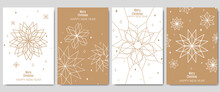 Golden Christmas Cards Set. Set Of Christmas New Year Winter Holiday Greeting Cards With Xmas Decoration. Abstract Trendy Illustration In Minimalist Hand Drawn Flat Style. Vector Illustration