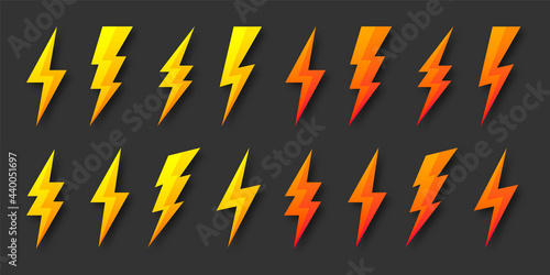 Obraz na płótnie Yellow and orange lightning bolt icons collection