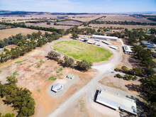 Aerial Shot Of Football Oval In Country Town