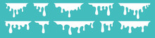 White Dripping Paint Flowing Down Vector Background. White Milk Liquid Drips. Vector Illustration.