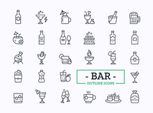 Vector Beverage Thin Line Icon Set. Collection Of Different Bar Drinks With Sign Of Juice, Shot, Champagne, Cocktail