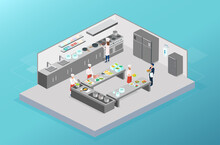 Vector Of Chefs Working Cooking In The Kitchen Of A Restaurant