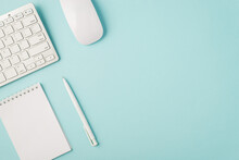 Top View Photo Of White Keyboard Mouse Organizer And Pen On Isolated Pastel Blue Background With Copyspace