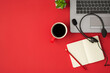 Leinwandbild Motiv Top view photo of laptop black headset with microphone plant red cup of coffee and pencil on red planner on isolated red background with blank space