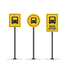 Set Of Bus Stop Signs Isolated On White Background. Signal Street. Vector Stock