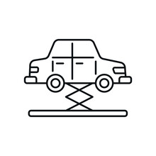 Vehicle And Jack Linear Icon. Car Service. Thin Line Customizable Illustration. Contour Symbol. Vector Isolated Outline Drawing. Editable Stroke