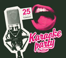 Vector Music Poster For Karaoke Party With A Studio Microphone, A Singing Mouth And A Pink Calligraphic Inscription On A Black Background. Suitable For Advertising Poster, Banner, Flyer, Invitation