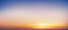 Sunrise In Morning With Orange,Yellow,Pink And Blue Sky,Backdrop Dramatic Twilight Landscape With Sunset In Evening,Vector Mesh Horizon Sky Banner Of Sunset Or Sunlight For Four Seasons Background